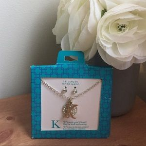 "Jewelry - NEW Initial ""K"" Necklace and earrings set"